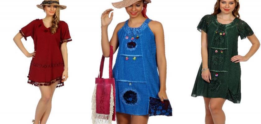 Şile Bezi Omuz Dekolteli Elbise Modelleri